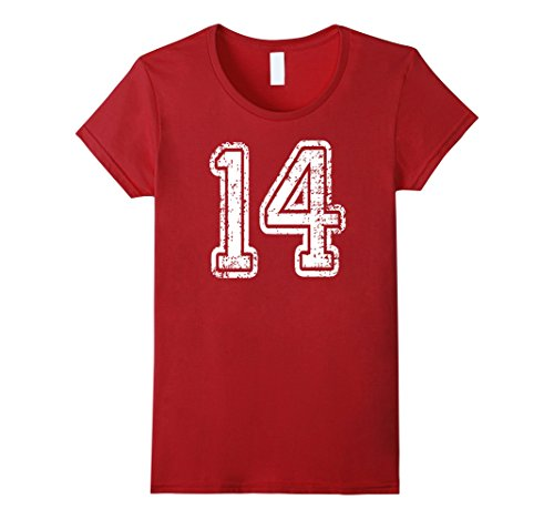 Womens #14 Grungy Numbered Sports Team T-Shirts white front & back Medium...