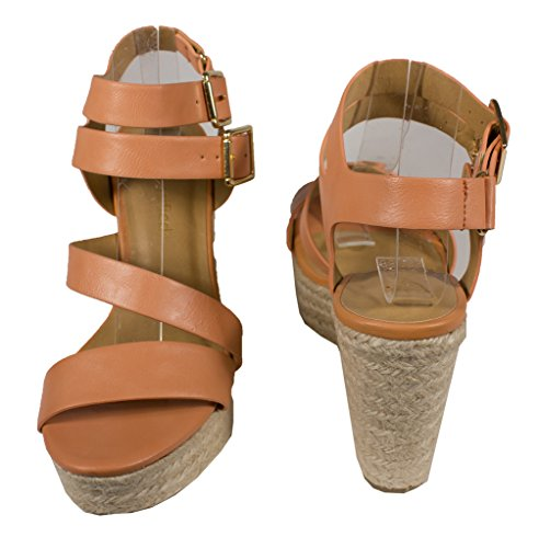 Stad Klassificeras Womens Justina Dubbla Spänne Espadrille Plattform Kil Sandal I Lax Läder