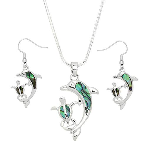 Lola Bella Gifts Abalone Dolphin and Sea Turtle Necklace and Earrings Set w Gift -