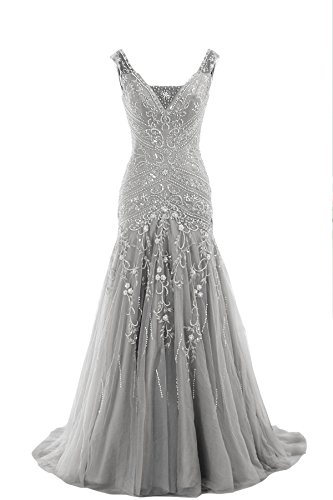 COCOMELODY Trumpet V Neck Long Beaded Prom Evening Dress Bmmc0009 Silver 16