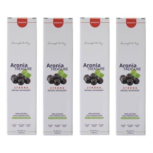 Aronia Treasure, 100% Siberian Aronia Berry Juice - Daily Antioxidant Boost (4 Pack) by ArmedinaUSA