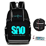 Gumstyle Sword Art Online Anime Night Luminous Backpack with USB Charging Port Laptop Shoulder School Bag 1