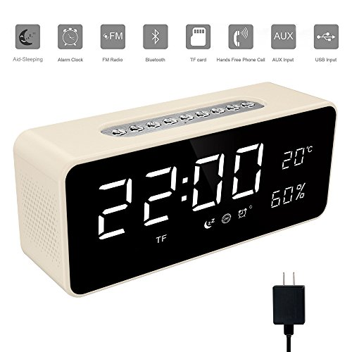 Soundance Electric Digital LED Alarm Clock Wireless FM Radio Portable Bluetooth Speaker Rechargeable with USB Built-in Mic for Bedroom Bedside Office Desk iPhone Android Laptop Desktop Computer, White