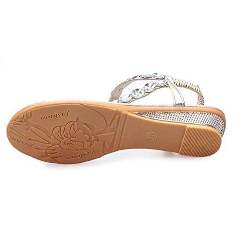 SKY Comfortable to wear it !!! Rhinestone de sandalias de tiras pendiente con antideslizante Summer Sandals Rhinestone Flats Platform Wedges Shoes Flip Flops Oro