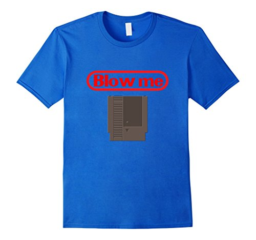 [Mens Blow Me Retro Video Game Old school Gamer T-shirt Large Royal Blue] (80s Nerd Costume)