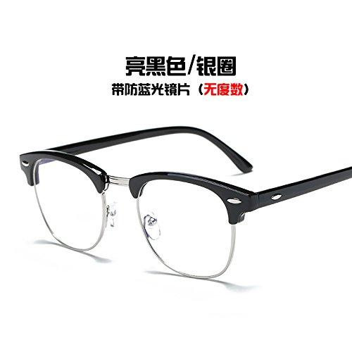 gafas Silver brillante marea gafas Equipo plata de negro Ring azul bastidor del KOMNY Gafas anillo Black radiación y Bright wRxnTqXS