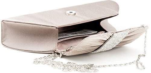 VINCENT PEREZ, pochette, sac en bandoulière, pochette en satin avec drapé et strass avec chaîne retirable (120 cm), 25,5 x 11,5 x 5 cm (H x L x P), couleur : Beige taupe
