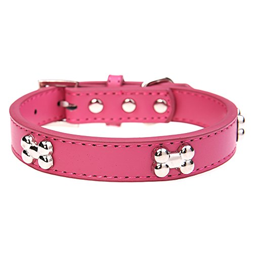 Bone Adjustable Dog Collar (Leather Dog Collar with Bone Charm for Small Dogs Pink S 8-11 inches 30 cm)