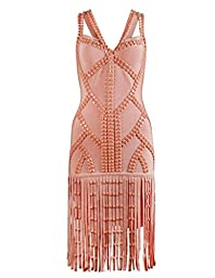 Meilun Womens Tassels Beads Strap Bandage Dress Party Club Dress Small Pink