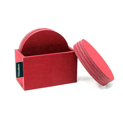 (VistosoHome Felt Coasters Set of 8 with Felt Holder - Made of Felt For Moisture Wicking and Condensation Absorption To Protect Furniture - Thick Coasters for Modern Design (Burgundy))