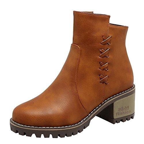 Mee Shoes Damen chunky heels Reißverschluss ankle Boots Gelb