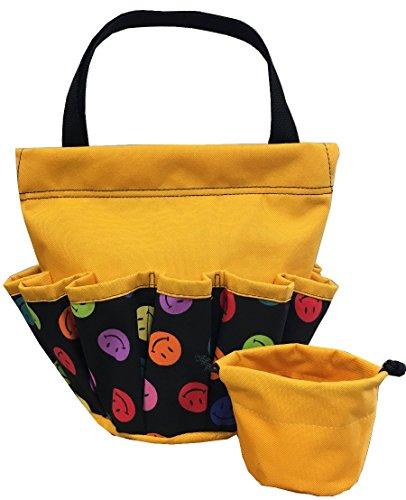 10 Pocket Smiley Face Yellow Velcro Bingo Bag by United Novelty (Image #1)