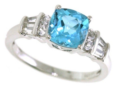 Blue Topaz Lab (Sterling Silver Cushion Shape Swiss Blue Topaz and Lab Created White Sapphire Ring, Size 8)
