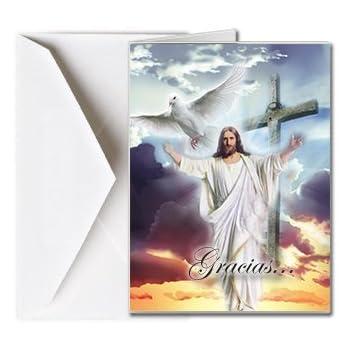 Tarjetas Funerales de Agradecimiento, Tarjetas de Gratitud, Tarjetas de Gracias (25 Cantidad) FTKC1151ES Dios dando la bienvenida (En Blanco - Impreso por ...