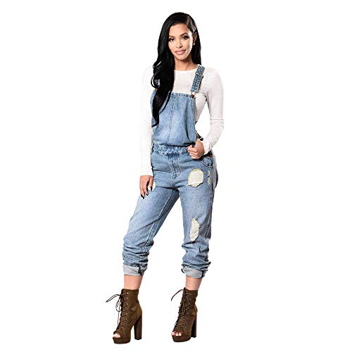 Rambling Fashion New Womens Denim Ripped Hole Bib Overall Jumpsuit Casual Jeans Pants (Blue, L)