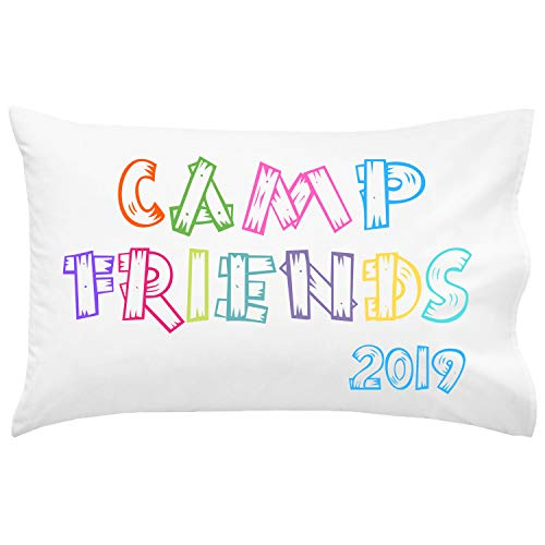 Script and Scribble Camp Friends Wood Letters Bright Pillowcase   Autograph Summer Camp Pillowcase   Sleepaway Camp Pillow - Wood Autographs