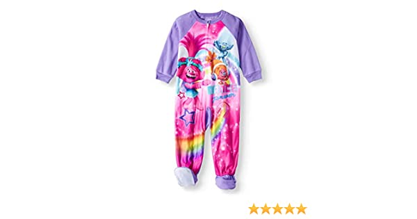 3ee5e35ad8 Amazon.com  Trolls Toddler Girls Footed Blanket Sleeper Pajamas Dance  Forever (2T)  Clothing