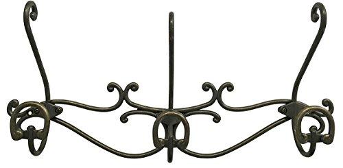 (Headbourne 16-Inch Over The Door Metal Rail/Coat Rack with 3 Double Hooks and Antique Bronze Finish)