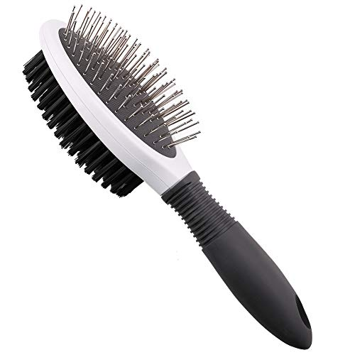 Professional Double Sided Pin Bristle Brush, Dog Hair Grooming Brushes, 2 in 1 Pet Hair Comb Clean Shedding & Dirt for Short, Medium Long Hair