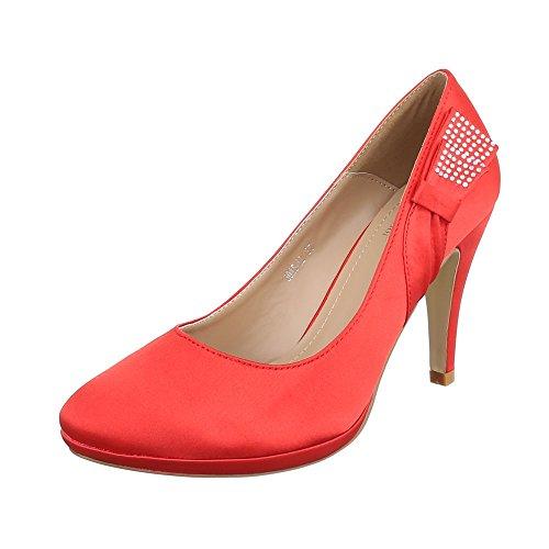 Ital-Design High Heel Damenschuhe Plateau Pfennig-/Stilettoabsatz High Heels Pumps Rot