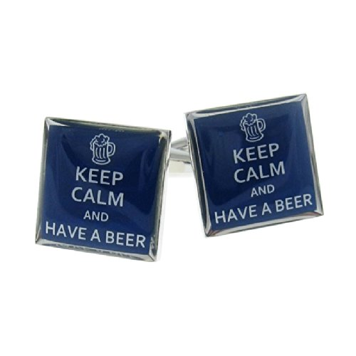 Keep Calm And Have A Beer Cufflinks Drinking Gift + Box & Cleaner
