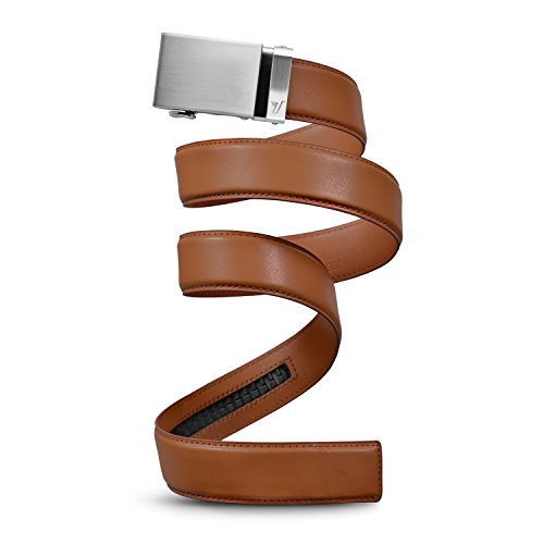 Mission Belt Men's Leather Ratchet Belt, 40mm Metal Collection,Steel Buckle & Light Brown Leather,Large (36 - - Belt Collection