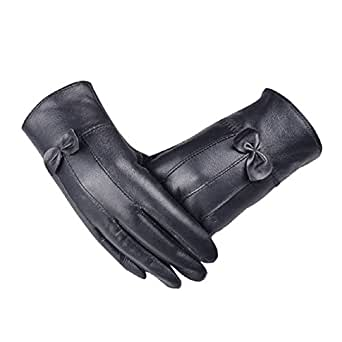 Lowpricenice Luxurious Women Leather Warm Gloves Cashmere Bow