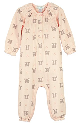 Feather Baby Girls Clothes Pima Cotton Long Sleeve Ruched One-Piece Jumpsuit Romper