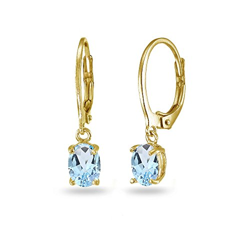 (LOVVE Yellow Gold Flashed Sterling Silver Blue Topaz 7x5mm Oval Dangle Leverback Earrings)