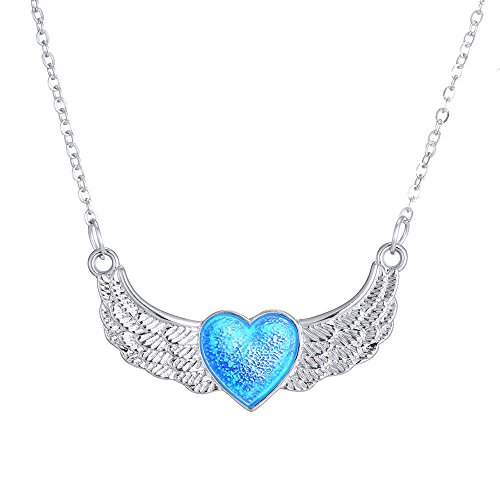 [FM42 Glow in the Dark Heart with Angel Wings Pendant Necklace GN1106] (Dark Fairy Wings Costume)