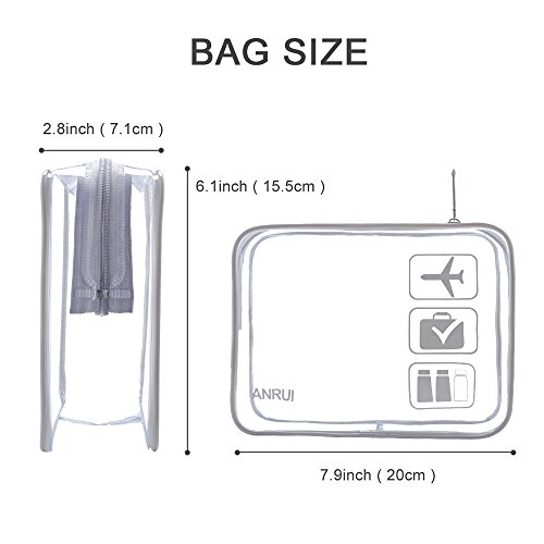 3Pack ANRUI Clear Toiletry Bag TSA Approved Travel Carry On Airport Airline Compliant Bag Quart Sized 3-1-1 Kit Travel Luggage Pouch