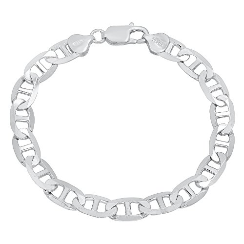 7.8mm Authentic 925 Sterling Silver Nickel-Free Beveled Mariner Chain Bracelet, 8 inches + Cleaning Cloth