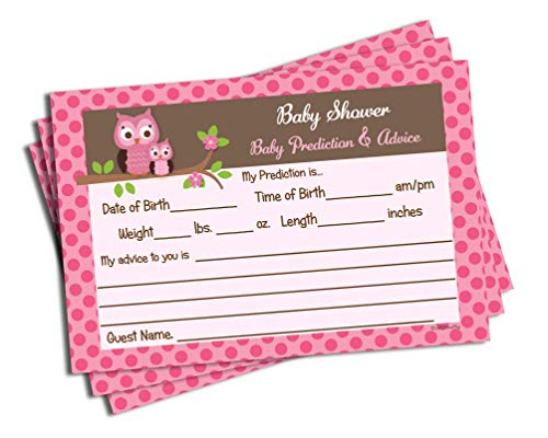 Pink Owl Themed Baby Shower Advice & Prediction Cards for Mom Games (50-cards) -