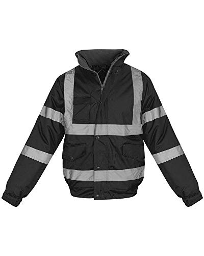 - Shelikes Hi Vis Viz Visibility Bomber Workwear Security Safety Fluorescent Hooded Padded Waterproof Work Wear Jacket Coat [Black 3XL]