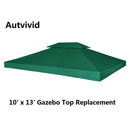 Autvivid 10' x 13' 2-Tier Waterproof Sun Shade Gazebo Top Replacement UV 30 Gazebo Cover Canopy Carport Awning Roof Top Cover for Outdoor Garden House Party Camping Picnic Bivouac (Green)