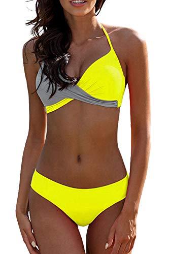 (CPUTAN Women's Striped Push up Bikini Plus Size Two Piece Swimsuit M (Yellow Gray))