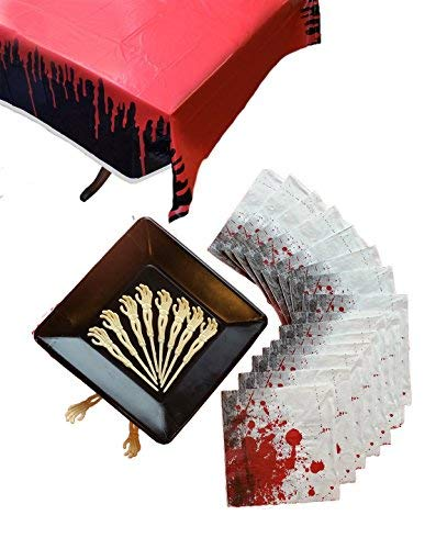 Bloody Zombie Essential Birthday or Halloween Party Supplies for 16 Including Square Dinner Plates, Large Napkins, Skeleton Food or Cupcake Picks, Table Cover (68 pcs)]()