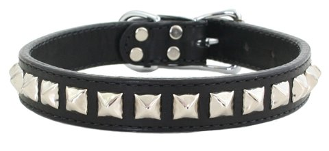 Leather Pyramid Dog Collar - 14 - Black Brass