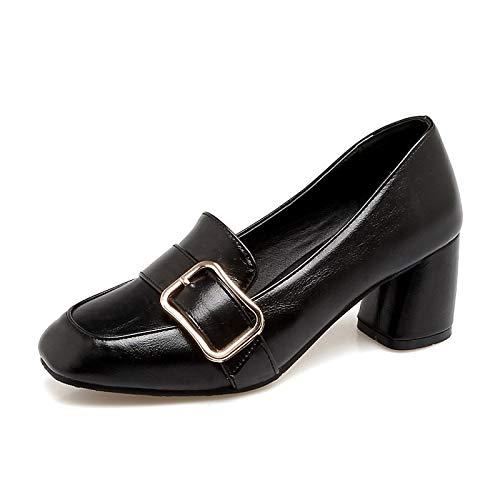QOIQNLSN Zapatos De Mujer De Poliuretano (PU) Primavera Y Verano Tacones Chunky Talón Vino/Beige / Marrón Oscuro Black
