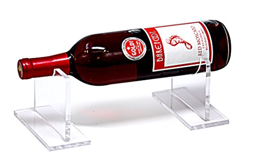 Deluxe Clear Acrylic Horizontal Table Top Wine Bottle Display Holder (A056-WBTT-LS)