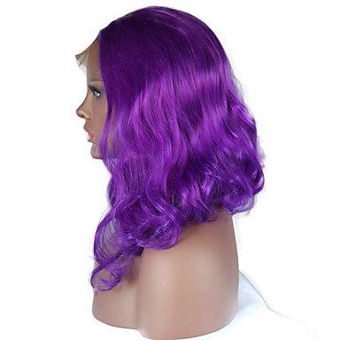 Peluca para disfraz de peluca de encaje sintético para mujer, color morado ondulado y natural