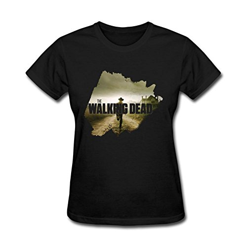 PPLIN Women's Walking Dead Wall Decal Sticker T-shirt Black L