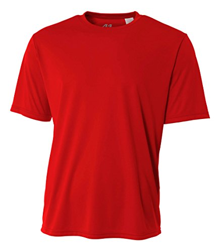 A4 Men's Cooling Performance Crew Short Sleeve T-Shirt, Scarlet, X-Large