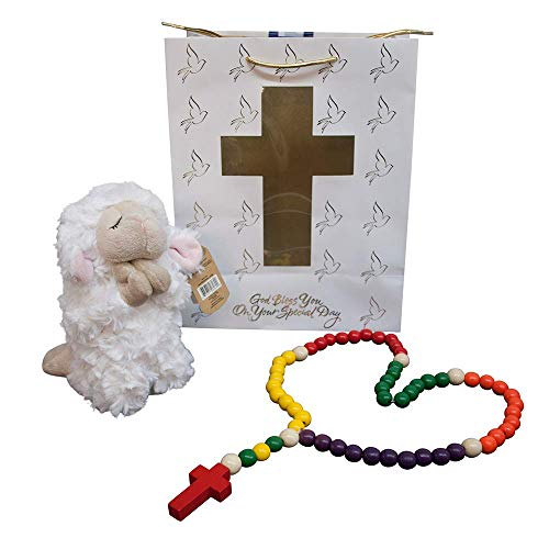 Chrsitian Baptism Baby Gift Set | Praying Lamb and Kiddie Colorful Rosary | Christening for Boys or Gifts | Comes with Gift Bag | Christian Baby Goods