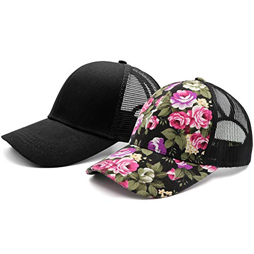 (Lvaiz Womens Flower Pattern Mesh Trucker Ponytail Baseball Cap Hat Plain Messy High Buns Mesh Trucker Ponycaps for Girls)
