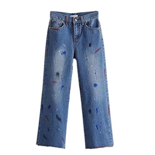 Haute Large Bleu Jeans Taille FuweiEncore Longue Femme Pantalon Bleu wqOPvz7