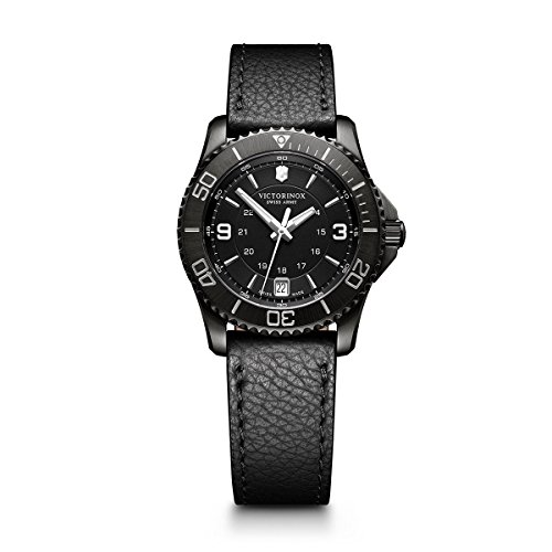 Victorinox Women's Maverick Stainless Steel Swiss-Quartz Watch with Leather Strap, Black, 18 (Model: 241788)