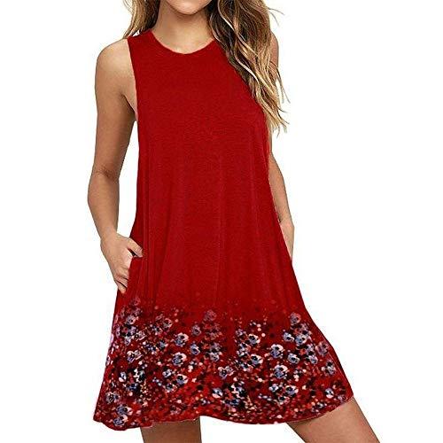 Cotton Cut Skirt Bias (HITRAS Dress! Fashion Womens Ladies Elegant Casual Dresses-Floral Printed Boho T-Shirt Pockets Mini Dress)
