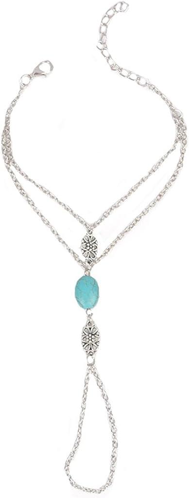 Pulsera de cadena de mano de plata con anillo de piedra azul, diseño de novia