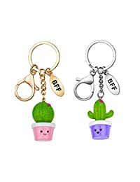 Skywisewin Best Friend Cool Cute Cactus Unique Keychains Car Circle Key Rings Bag Hanging Buckle for Gifts for Guys and Women